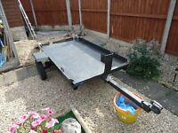 flat bed trailer ideal for bikes, quads,sit on grass mowers.