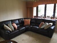 Brown Leather Corner Suite and two reclining arm chairs