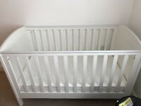 Mothercare white baby cot, mattress, 2 wardrobes and baby changer