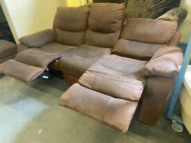 SUEDE FABRIC TWO TONE 3 SEAT FULLY RECLINER SOFA VERY NICE & REAL COMFY