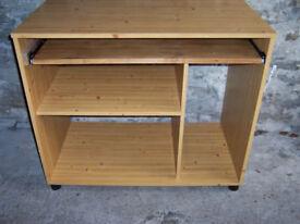 Computer Desk - Pine effect - MFI. Retractable keyboard shelf 89cmW 75cmH 50cmD.