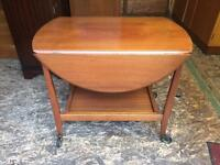 Vintage Solid Teak Tea Trolley with removable tray