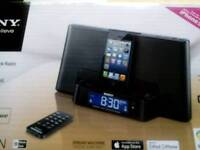 Sony speaker dock / clock radio for ipod and iphone. Brand new. Mega base MegaXpand