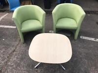 2 Lime Green Tub Chairs & Coffee Table