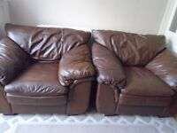 Brown Leather 1 Seater Sofa x2
