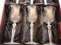 6 x Crystal Wine Goblets. Redhouse collection by Stuart Crystal.