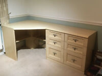 Double Display cabinet, desk and 2 triple Drawers.