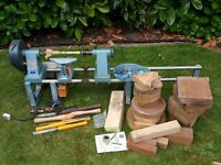 Elu woodturning lathe with tools, blanks etc
