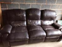 Brown leather Reclining Lazy Boy sofa and swivel reclining chair