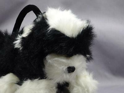 TOBY NYC LIFELIKE SHIH TZU PUPPY DOG CARRIER LACK WHITE PUPPY PLUSH PURSE BAG