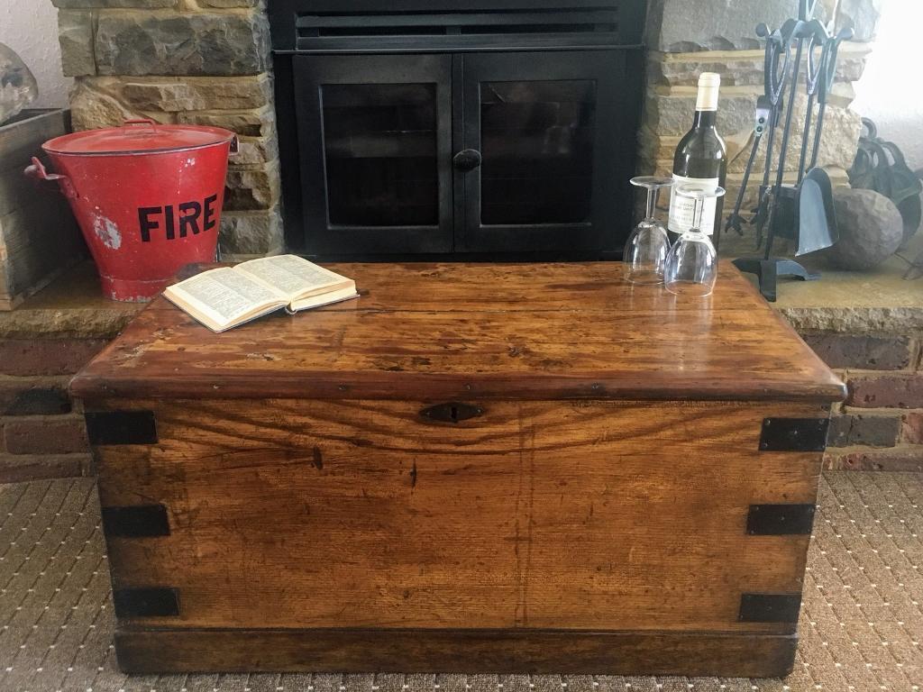 Old Antique Pine Chest Blanket Box Vintage Wooden