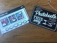Photo booth sign and magnetic photo accessories