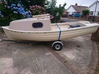 nice 15ft boat for sale with trailer and 5hp engine and fuel tank