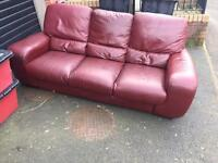 3 seater red/brown leather sofa
