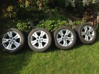 Set of 4 BMW alloy wheels R16, style 222 in good condition, tyres worn