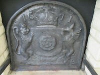 Cast Iron Elizabethan 1571 Tudor Rose Fire Back with two Fire Dogs