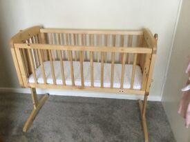 Wooden Swinging Crib with Matress