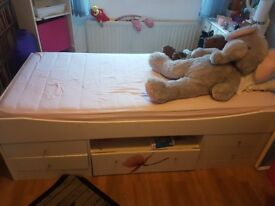 Used white, single bed for sale