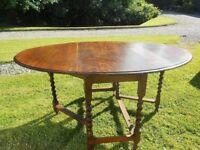 Oval Drop Leaf Table With Barley Twist Legs