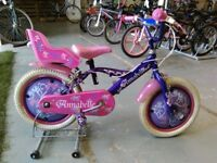 GIRLS ANNABELLE BIKE 16 INCH WHEELS + DOLLY SEAT PURPLE/PINK VERY GOOD CONDITION