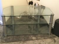 Glass tv Stand unit corner friendly