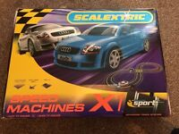 SCALEXTRIC SPEEDMACHINES X1 RACETRACK WITH AUDI TTs ORIGINAL HORNBY IN EXCELLENT CONDITION