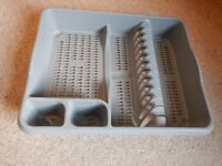 Dish rack and cutlery tray grey plastic
