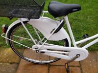 Bike for sale white with basket and lock