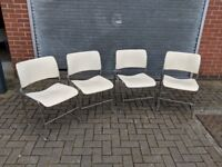 4x Metal Stacking Chairs - 40/4 David Rowland