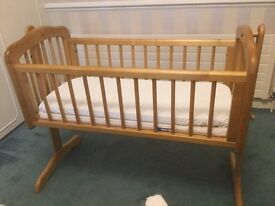 Mothercare Swinging Crib - Natural (including Mothercare mattress and cover)