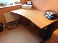 Wooden office desk with metal legs