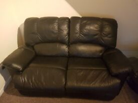 Leather 2 seater black sofa good condition