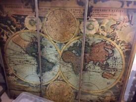 Antique map in 3 panels - as new