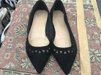 Dorothy Perkins UK size 7 Wide Fit Black Faux Suede colour Flat Pumps Used few times £5