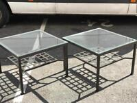 Pair of Glass Top Side Tables (@07752751518)