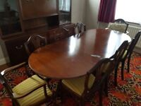 8 chairs and extending dining table (real wood) reduced for quick sale