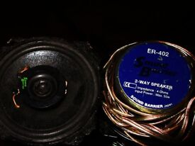 CAR SPEAKERS SOUNDBLASTER ER-402 2WAY 50W WORKING USED ONCE very bassey great sound