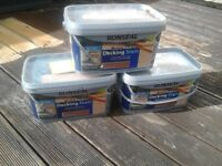 Bargan # Ronseal Quality Decking stain, country oak , with applicator / tool, cost £25 sell £15 each