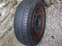 One Ford wheel with Bridgestone tyre 175 x 65 x 14 no longer required