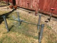 Glass TV console table