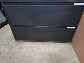 Black metal 2 drawer storage cabinet