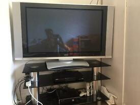 "Hitachi 42"" plasma tv with humax and stand"