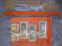 B and Q Polished Brass Effect Internal Scroll Latch Door Handle, 2 Set