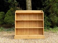 Vintage Old Large Solid Fixed Shelved Pine Bookcase