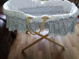 Moses basket with stand new in condition