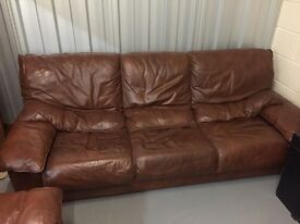 3x Seater Leather Sofa in need of new home - Reduced for quick sale