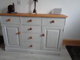 SIDEBOARD SOLID PINE & GREY. 6 DRAWERS & 2 CUPBOARDS. GOOD QUALITY