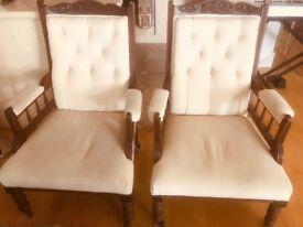 Edwardian Antique Chairs & Chaise Longue Ivory - bargain!