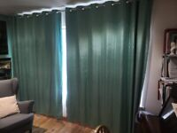 Turquoise/Jade (green) Blackout Lined Curtains. 3m wide 2.22m drop. Ring top.