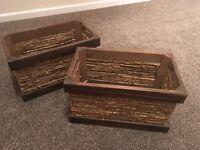 Wood wicker storage boxes x2